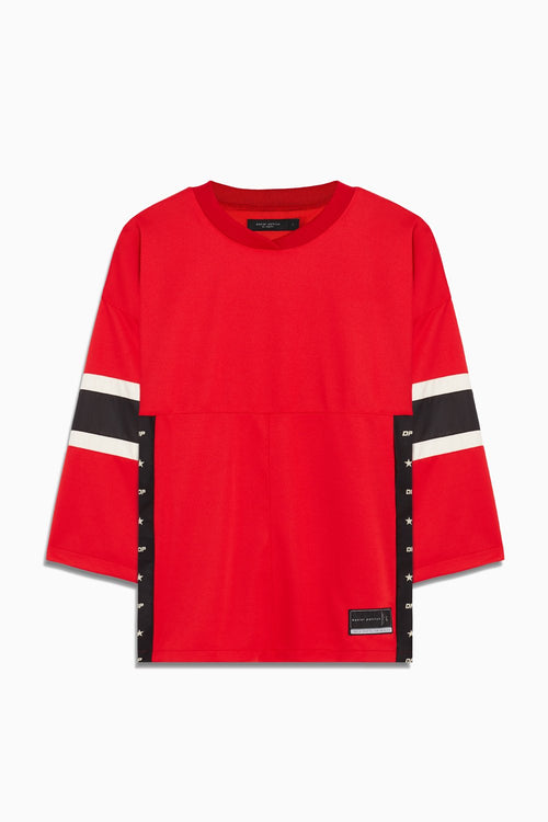 3/4 sleeve jersey in red/black/ivory by daniel patrick