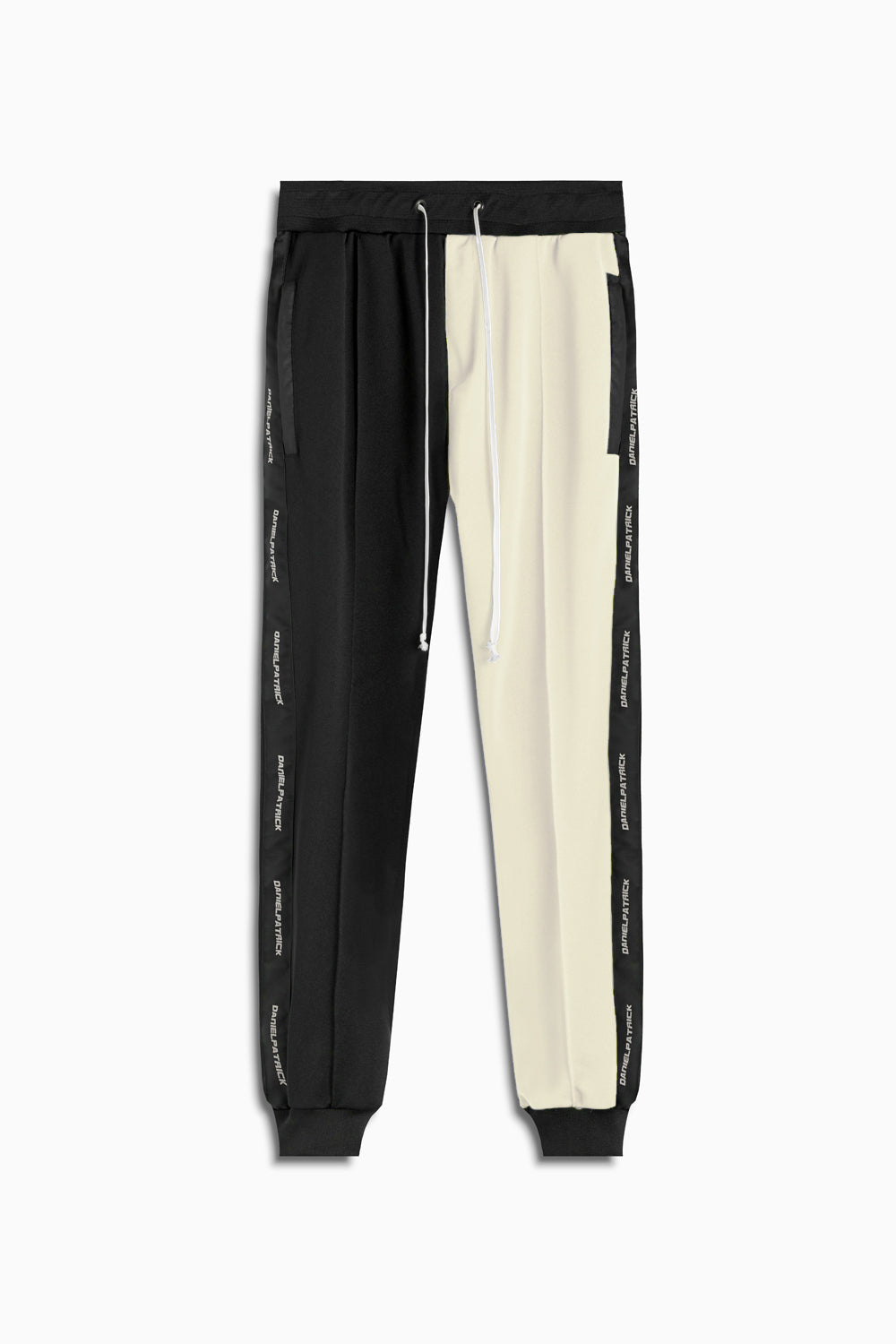 50/50 track pant in black/ivory by daniel patrick