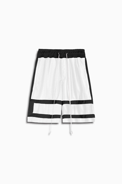 5.5 mesh gym short in white/black by daniel patrick