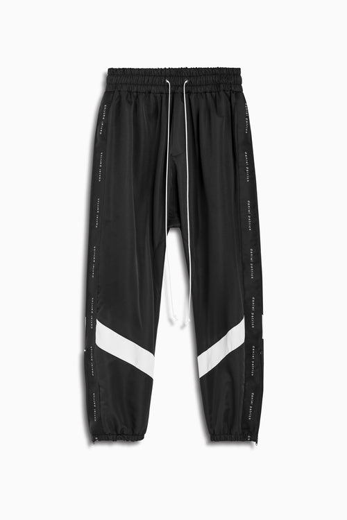 dp parachute track pant ii in black/ivory by daniel patrick