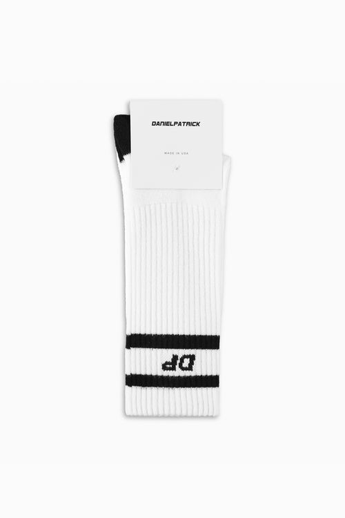 DP stripe b-ball sock in white/black by daniel patrick