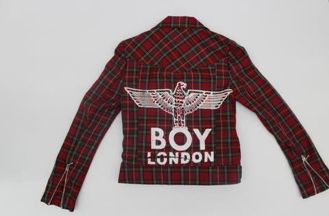 BOY Print Tartan Biker Jacket- Boy London