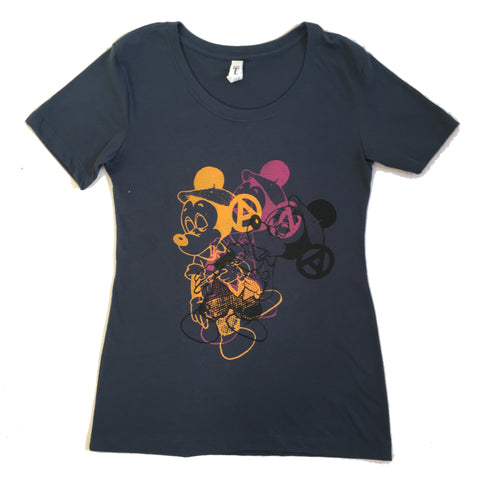 Mickey Fix Punk T-shirt - Multi Print Navy tee