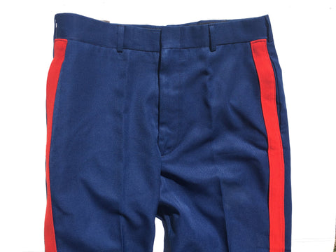 Vintage Blue Utility pants with Contrast Red Stripe