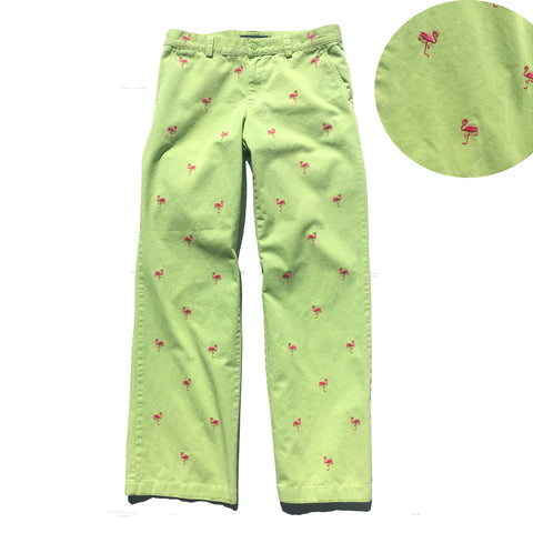 Ralph Lauren Vintage Lime Green pants with pink flamingo embroidery