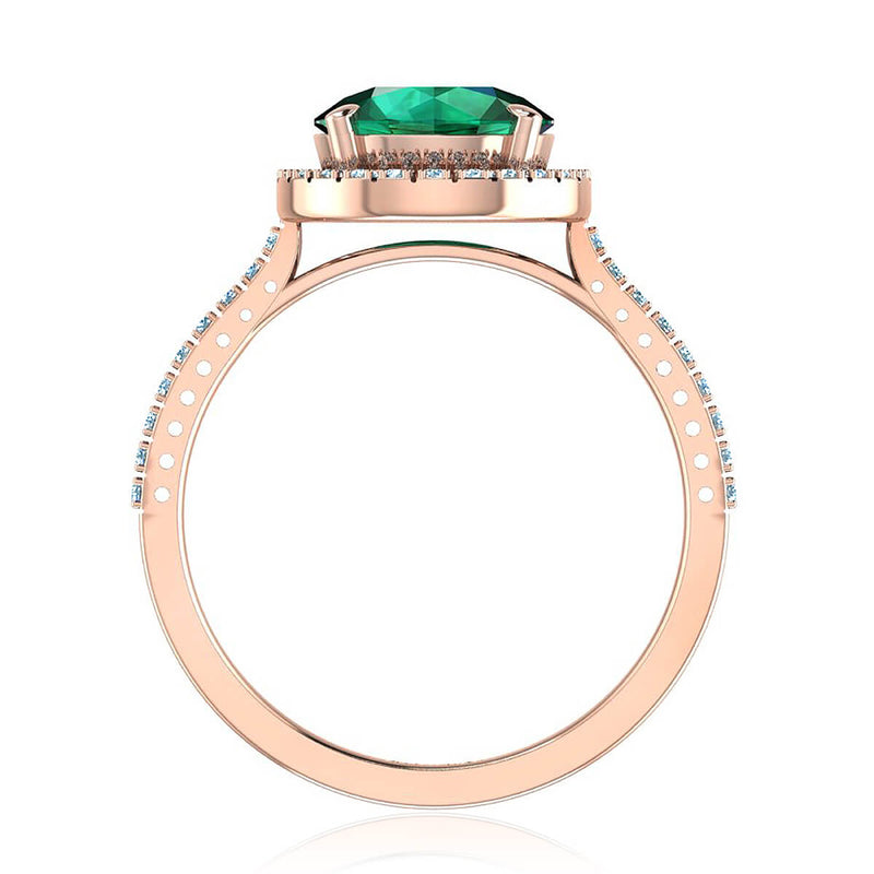 Round Green Emerald & Diamond Halo Ring