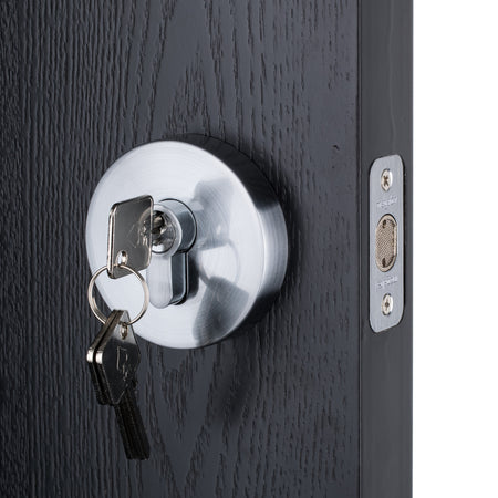 BAI 3096 Round Rosette Deadbolt in Satin Chrome Finish