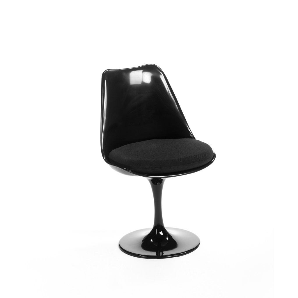 Black Saarinen Tulip Chair with black cushion