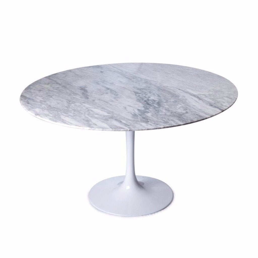 White Saarinen Tulip Table with marble top