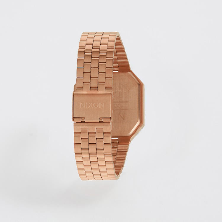 Product shot, back view: Nixon Re-Run All Rose Gold Watch