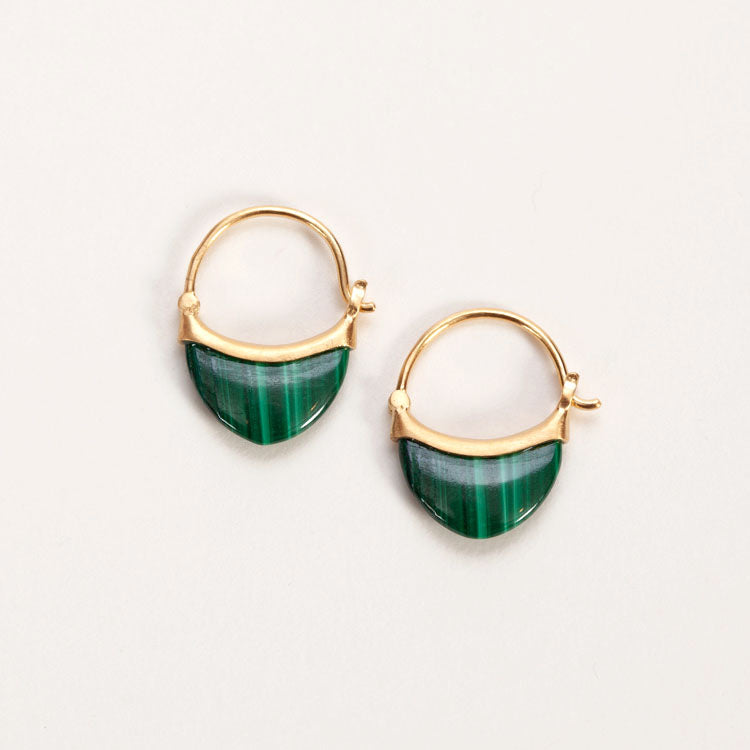 Product shot of Pernille Corydon Small Malachite Earrings