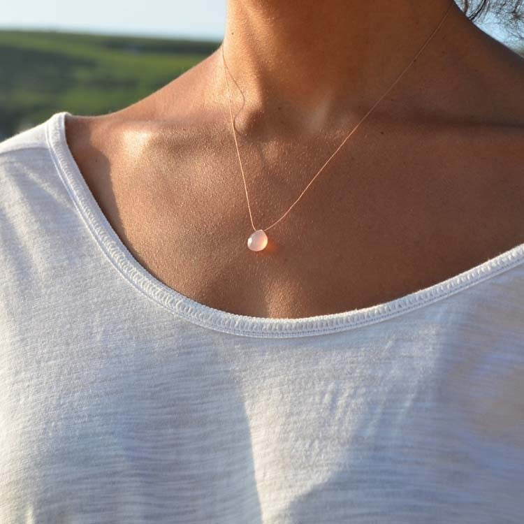 Buy online UK: Wanderlust Life | Pale Pink Chalcedony Necklace