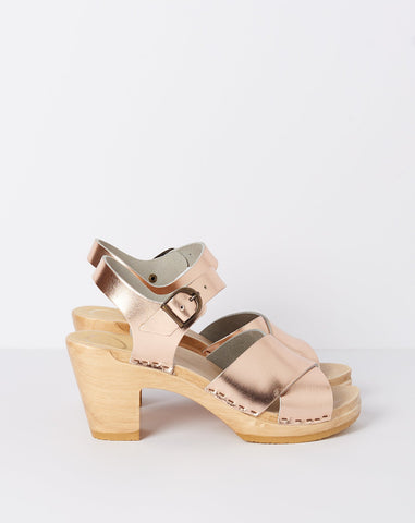 Coco Cross Front Clog on High Heel in Rose Gold