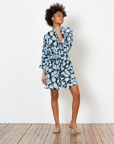 Lulu Shirt Dress in Black and Sky Tulip