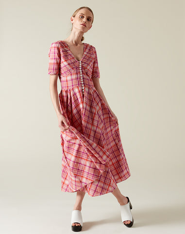 Paolo Circle Dress in Red and Purple Plaid
