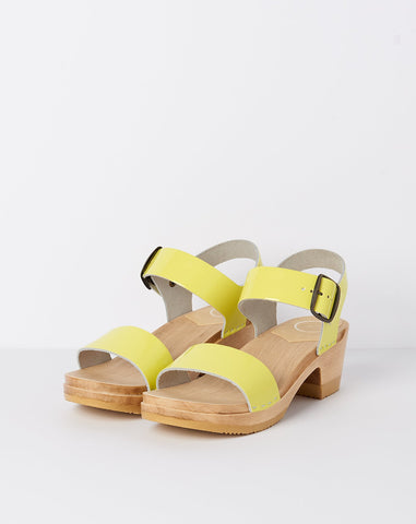 Two Strap Clog on Mid Heel in Yellow Patent