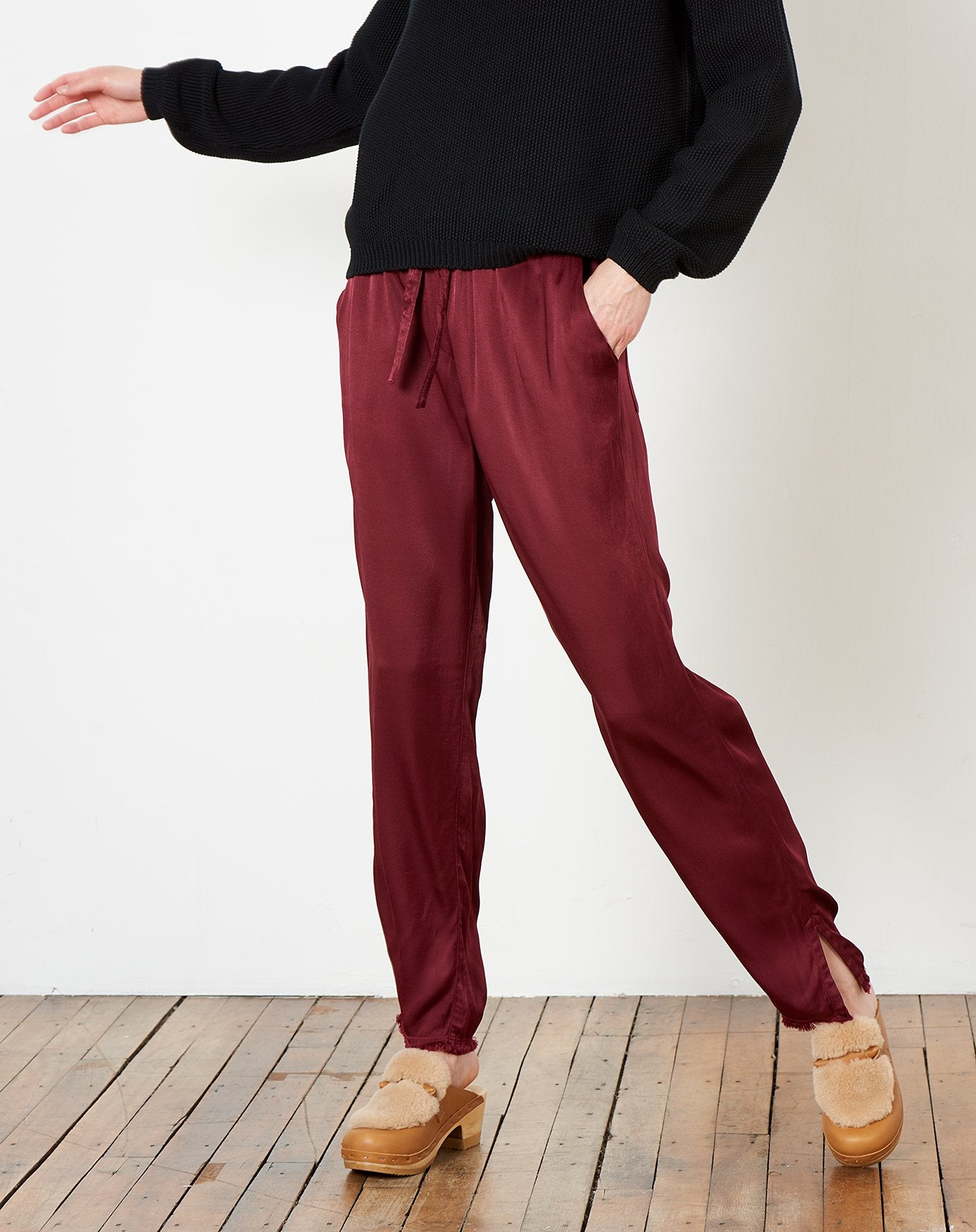 Drawstring Trouser in Wine