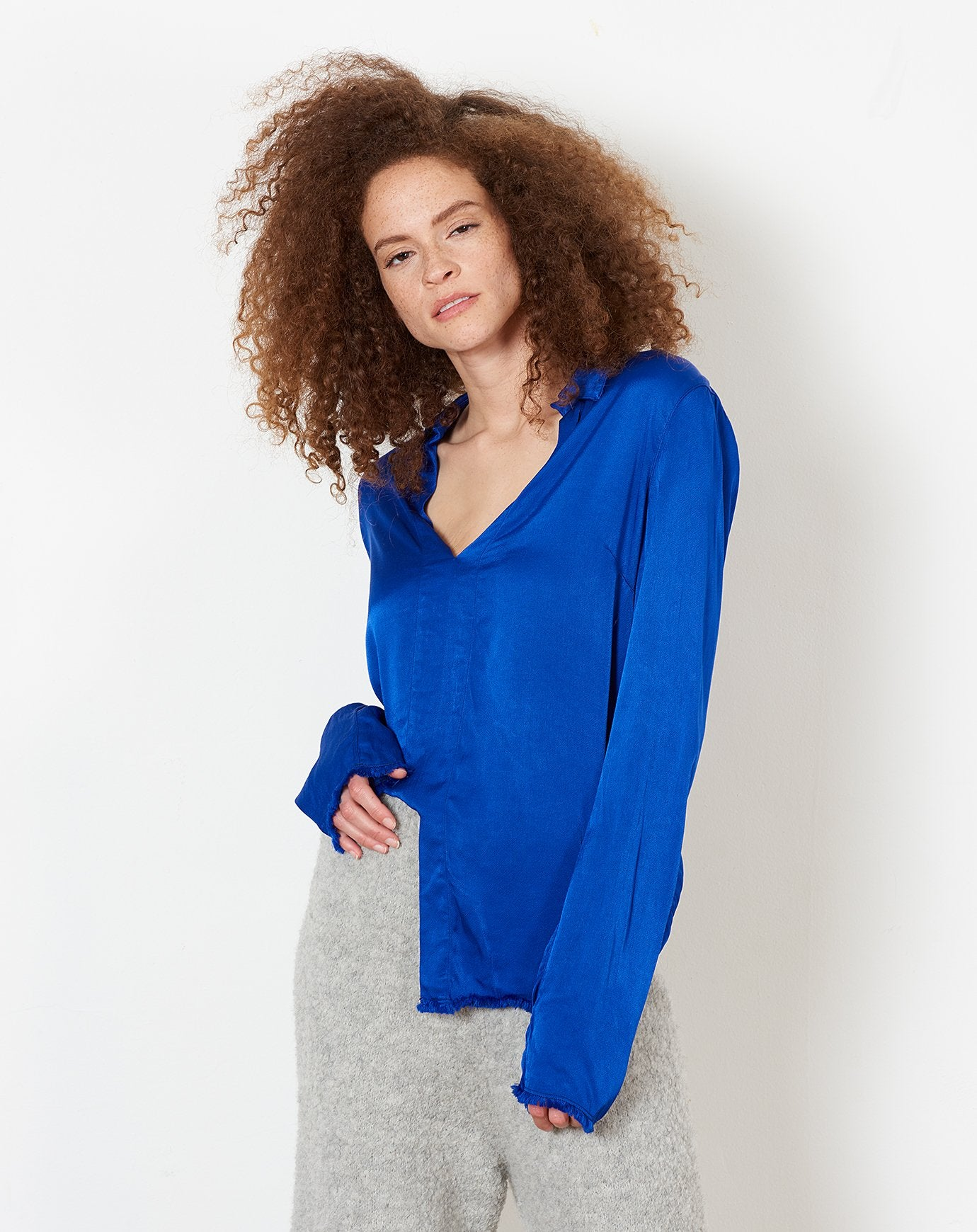Split Front Top in Cobalt