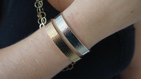 Yellow & Silver Wide Hammered Cuff Set