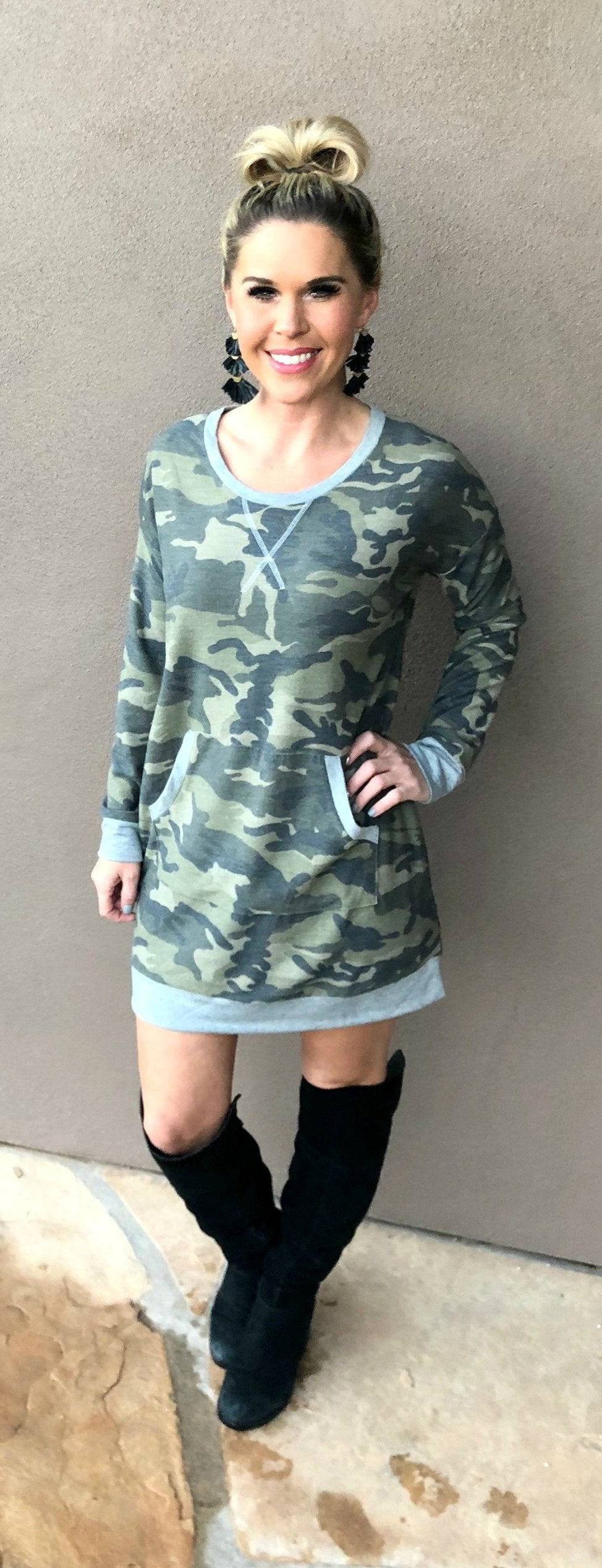 Camo Kangaroo Pocket Tunic