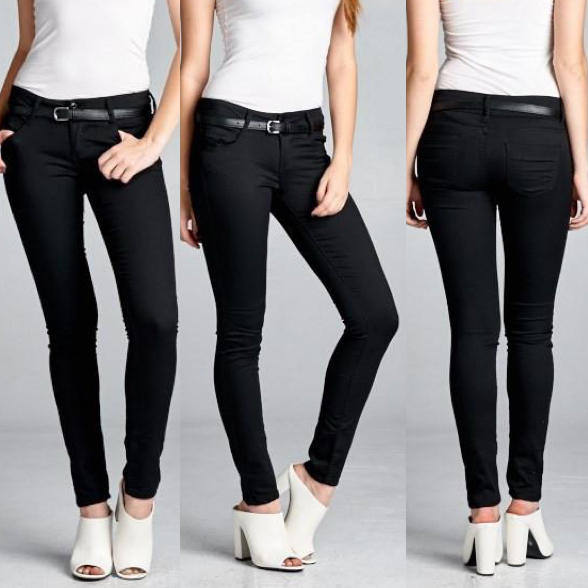 Light Weight Belted Jeggings: Black