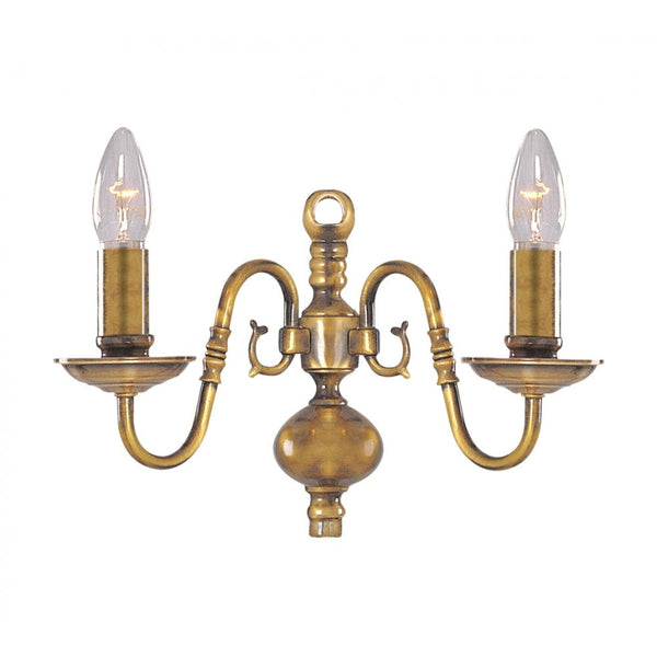 FLEMISH Double Wall Light in Antique Brass