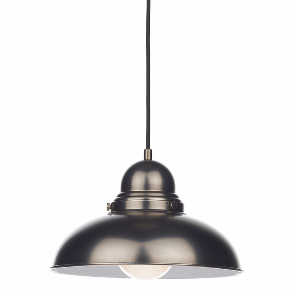 DYNAMO 1 Light Single Pendant in Antique Chrome