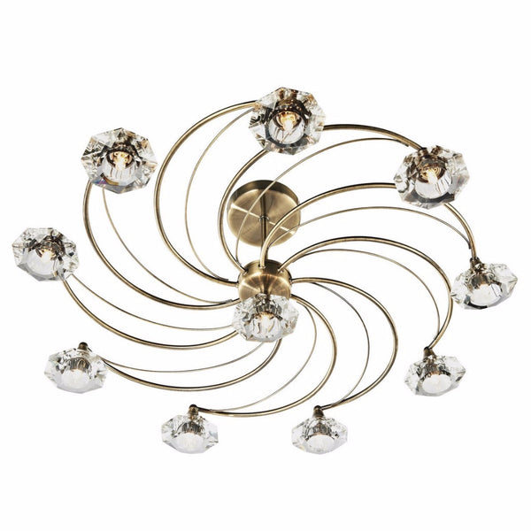 LUTHER 10 Light Semi Flush in Antique Brass
