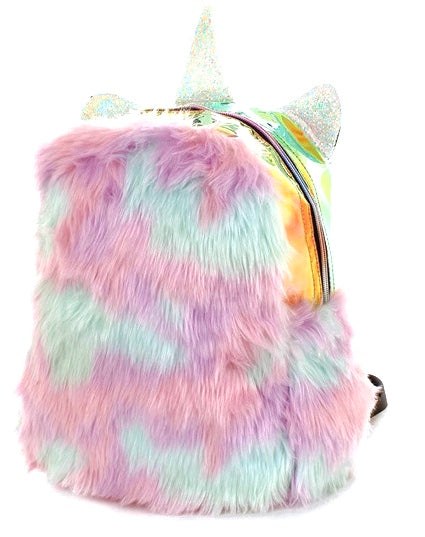 Hologram Fluffy Faux Fur Mini Backpack
