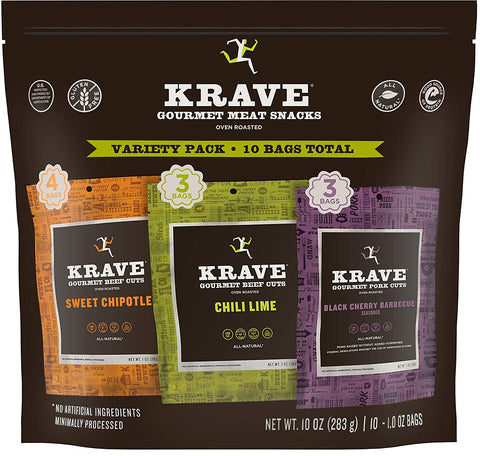 KRAVE Jerky Variety Pack, 10 Count, Beef & Pork