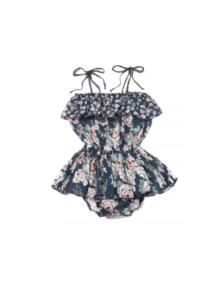 Tocoto Vintage Baby Romper in Flower Print - FINAL SALE