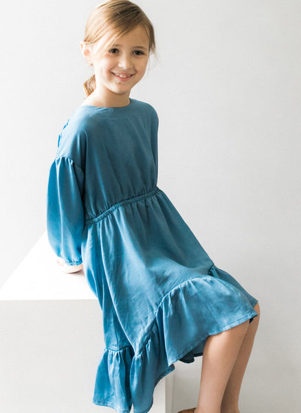 Vierra Rose Marchesa Chambray Midi Doll Dress in Blue Chambray - FINAL SALE