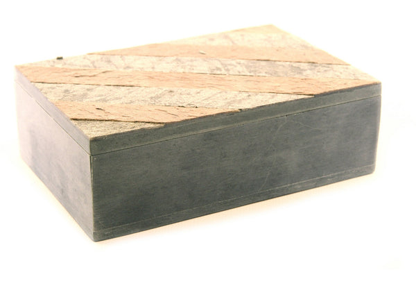 Rectangular Shaped Hand Carved Natural Soapstone Jewellery Box with Slate Cover - 10x15cm