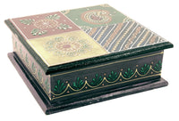Wooden Painted Box Square Shape Multi Colour Ornate Design - 18cm