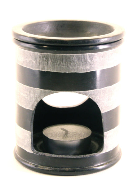 Oil Diffuser Soapstone Candle Holder Black with White Stripes Hand Carved - 15x10cm