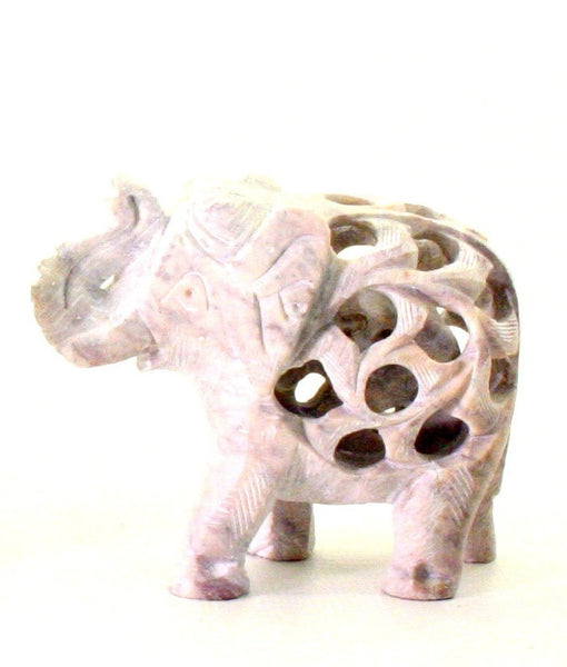 Elephant with Undercut Baby Elephant Design Figurine Hand Carved Soapstone Natural - 6.5cm
