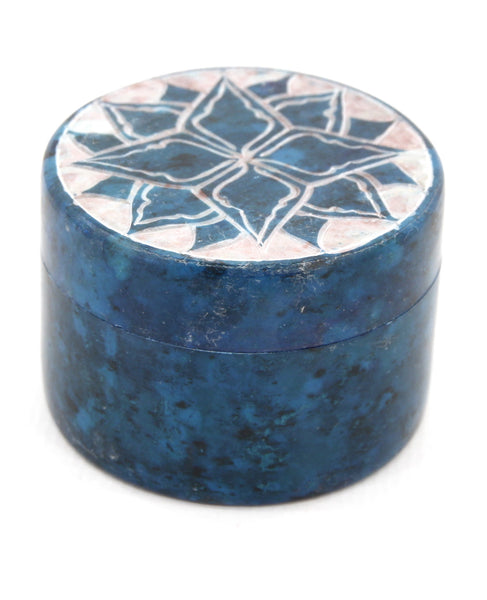 Small Round Soapstone Jewellery Box Blue Etched Lotus Design Hand Carved - 5cm