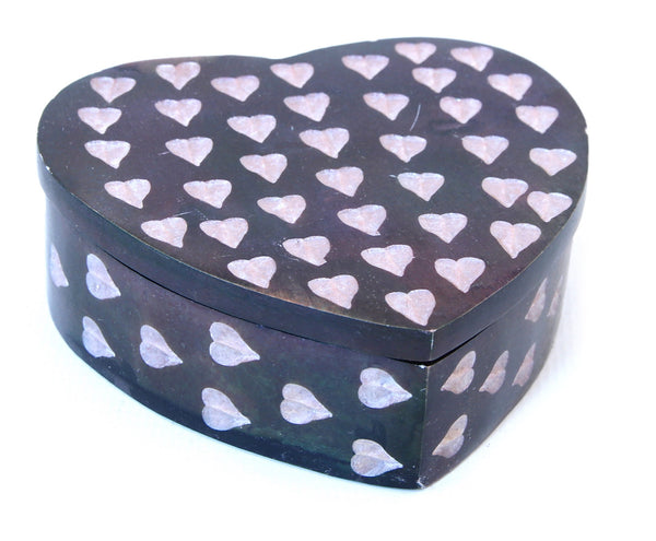Heart Shaped Hand Carved Blue Soapstone Jewellery Box with Etched Heart Design - 7cm