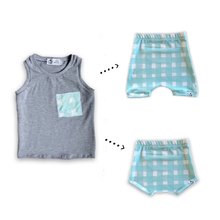 Load image into Gallery viewer, Handmade Pocket Tank [Seafoam Blue Gingham] + Harem Shorts or Bummies Gift Set