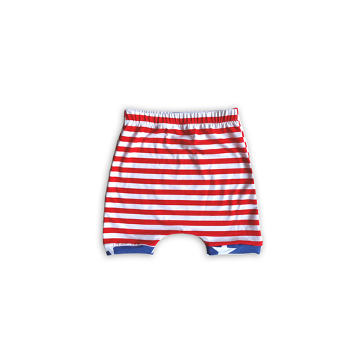 Stripes + Stars Harem Shorts or Bummies for Baby Toddler and Kids (Stripe Base)