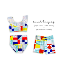 Load image into Gallery viewer, Saint Tropez (Nautical Flag) High Waist Ruffle Bikini-Baby, Toddler & Kids