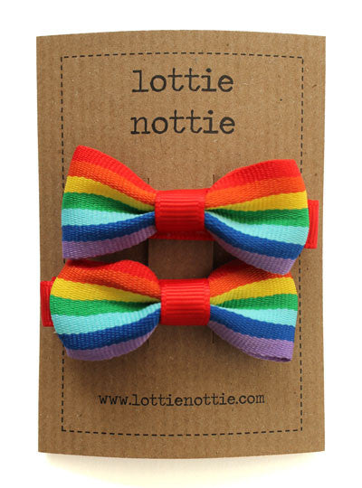 Lottie Nottie Bow Hair Clips- Rainbows