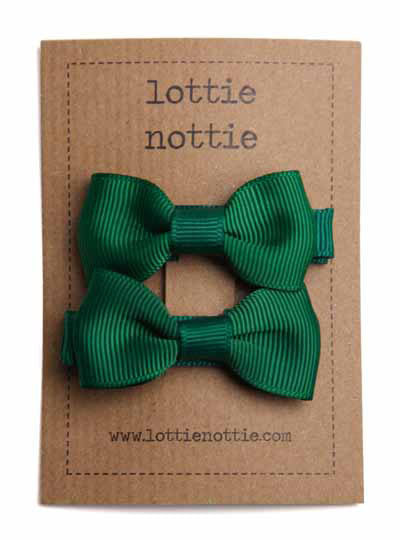 Lottie Nottie Bow Hair Clips- Green