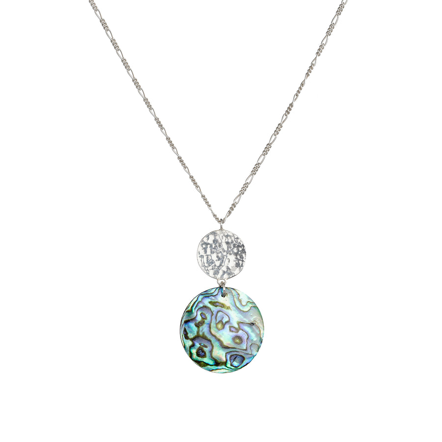 Sun and Paua Shell silver necklace