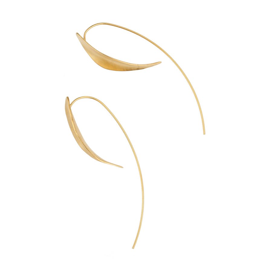 Organic Curved Earrings Gold