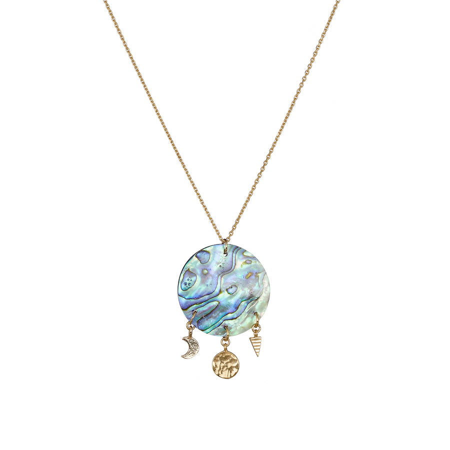 Gold Sun shell charm necklace