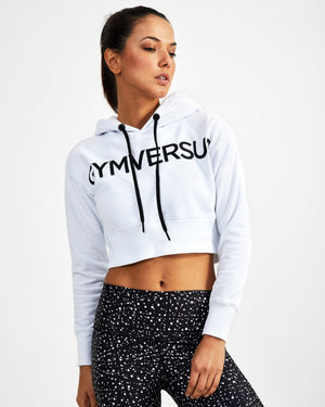 Half-Time Cropped Hoodie - White