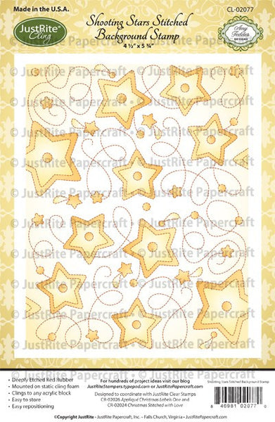 Shooting Stars Cling Stitched Background Stamp