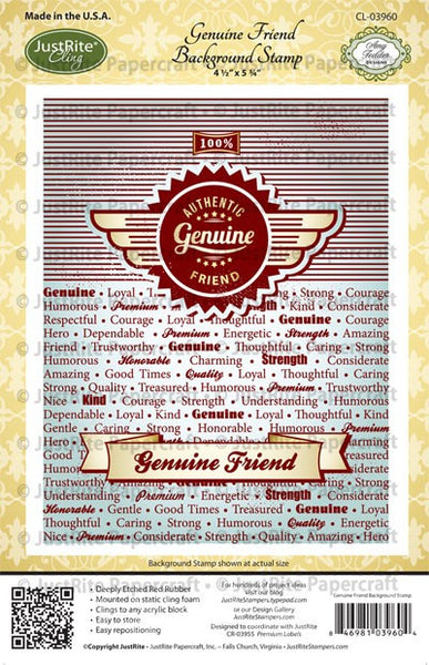 Genuine Friend Background Cling Stamp