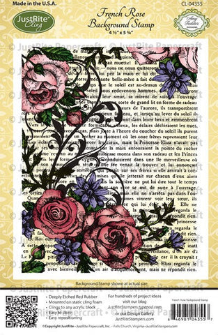 French Rose Background Cling Stamp